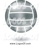 Vector Clipart of a Floating Shiny Silver Volleyball Logo by Cidepix