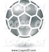 Vector Clipart of a Floating Silver Soccer Ball Logo by Cidepix