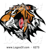 Vector Clipart of a Furious Tiger Mascot Head Baring Teeth by Chromaco