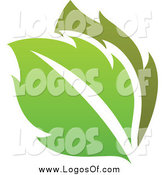 Vector Clipart of a Gradient Green Leaves Eco Logo by Elena