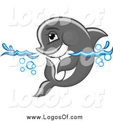 Vector Clipart of a Gray Dolphin Wading in Water by Vector Tradition SM