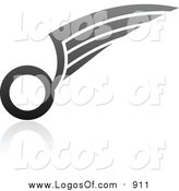 Vector Clipart of a Grayscale Wing Logo by Elena