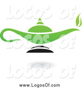Vector Clipart of a Green and Black Lamp Logo by Cidepix