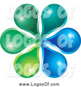 Vector Clipart of a Green and Blue Flower Logo by Lal Perera