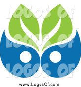 Vector Clipart of a Green and Blue Leaf and Waterdrop Logo by Elena