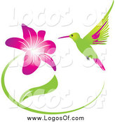 Vector Clipart of a Green and Pink Hummingbird and Purple Flower Logo by Eugene