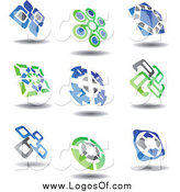 Vector Clipart of a Green, Blue and Gray Logos by Vector Tradition SM