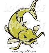 Vector Clipart of a Green Catfish Swimming Logo by Patrimonio
