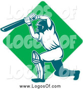 Vector Clipart of a Green Diamond Cricket Batsman Logo by Patrimonio