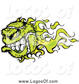 Vector Clipart of a Green Flaming Vicious Tennis Ball Character Sports Logo by Chromaco