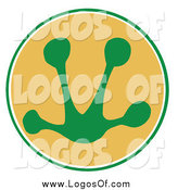 Vector Clipart of a Green Frog Print in a Circle by Hit Toon