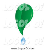 Vector Clipart of a Green Leaf and Dripping Dew Logo by Pams Clipart