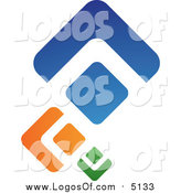 Vector Clipart of a Green Orange and Blue Abstract Diamonds Logo by TA Images