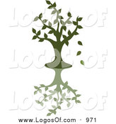 Vector Clipart of a Green Silhouetted Tree Dropping Leaves by Pams Clipart