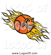 Vector Clipart of a Grinning Basketball Character and Flames Logo by Vector Tradition SM