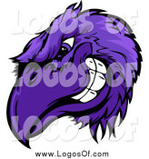 Vector Clipart of a Grinning Tough Purple Raven or Crow Mascot Head by Chromaco