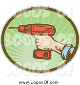 Vector Clipart of a Hand Holding a Cordless Drill Tool Logo by Patrimonio