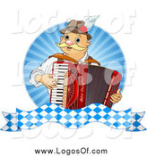Vector Clipart of a Happy Blond White Oktoberfest Man Playing an Accordion by Pushkin
