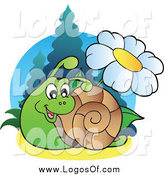 Vector Clipart of a Happy Snail and Daisy Logo by Visekart