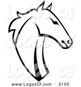 Vector Clipart of a Horse Head - Black and White Logo Design by Vector Tradition SM
