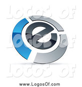 Vector Clipart of a Letter E Circled by Chrome and Blue Bars Logo by Beboy