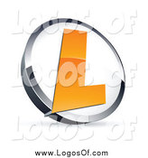 Vector Clipart of a Letter L in a White and Chrome Circle Logo by Beboy