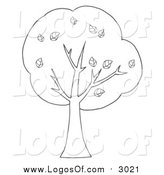 Vector Clipart of a Lineart Tree Logo by Hit Toon