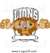 Vector Clipart of a Lion Character Mascot Leaping out of a Shield Logo by Toons4Biz