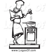 Vector Clipart of a Logo of a Black and White Baker Girl Seasoning Food by Xunantunich