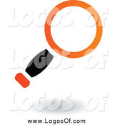 Vector Clipart of a Logo of a Floating Black and Orange Magnifying Glass by Cidepix