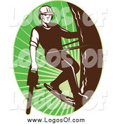 Vector Clipart of a Logo of a Male Tree Arborist Climbing with a Chainsaw in an Oval of Green Rays by Patrimonio