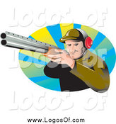 Vector Clipart of a Logo of an Aiming White Male Hunter by Patrimonio