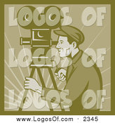 Vector Clipart of a Male Film Maker with a Camera by Patrimonio