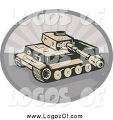 Vector Clipart of a Military Tank and Gray Rays Logo by Patrimonio