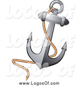 Vector Clipart of a Nautical Anchor and Rope Logo by Vector Tradition SM
