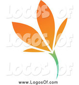 Vector Clipart of a Orange Flower Logo by Elena
