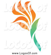 Vector Clipart of a Orange Tropical Flower Logo by Elena