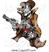 Vector Clipart of a Outlaw Cowboy Skeleton Holding Two Pistols Logo by Chromaco