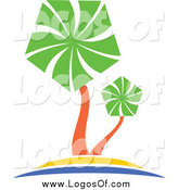 Vector Clipart of a Palm Tree Travel Logo by Vector Tradition SM