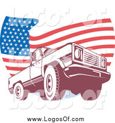 Vector Clipart of a Pick up Truck over a Wavy American Flag Logo by Patrimonio
