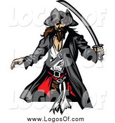 Vector Clipart of a Pirate with a Sword Logo by Chromaco
