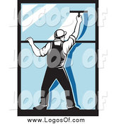 Vector Clipart of a Rear View of a Retro Window Washer Using a Squeegee by Patrimonio