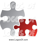 Vector Clipart of a Red and Gray Jigsaw Puzzle Pieces Connecting Logo by TA Images