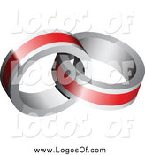 Vector Clipart of a Red and Silver Rings Entwined Logo by Vectorace