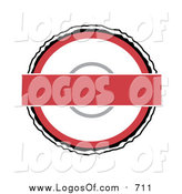 Vector Clipart of a Red and White Round Batdge Logo on White by Arena Creative