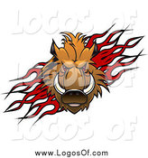 Vector Clipart of a Red Eyed Razorback Boar over Flames Logo by Vector Tradition SM