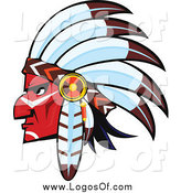 Vector Clipart of a Red Native American Brave Face Facing Left Logo by Vector Tradition SM