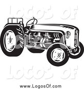 Vector Clipart of a Retro Black and White Tractor Farming Logo by Patrimonio