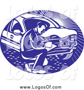 Vector Clipart of a Retro Car Insurance Adjuster Crouching by a Vehicle Logo by Patrimonio