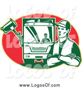 Vector Clipart of a Retro Garbage Man and Truck in a Red Oval Logo by Patrimonio